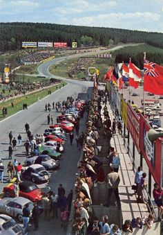 """Grid of the 1963 500KM race at Spa-Francorchamps. The current """"long-distance-pit-complex"""" was built directly in front of the old complex [in this pic], which invited the rerouting of the Eau Rouge corner."""