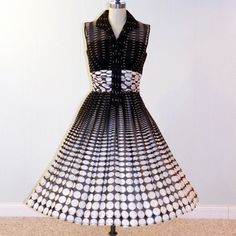 1950s Dress 50s Dress Black and White Polka Dot by daisyandstella, $200.00