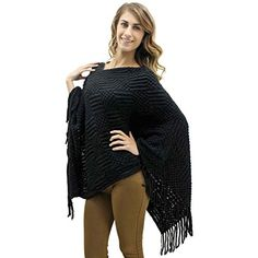 Luxury Divas Black Textured Oversize Poncho Shawl Wrap With Fringe * Click on the image for additional details.