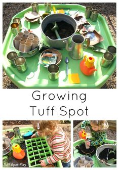 Garden Composting Gardening Tuff Spot to compliment spring / gardening / growing topic. Let children explore planting their own seeds in this messy outdoor play tuff tray. Eyfs Activities, Spring Activities, Activities For Kids, Outdoor Activities, Activity Ideas, Eyfs Outdoor Area Ideas, Tuff Spot, Olivers Vegetables, Outdoor Learning