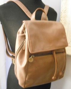 Vintage brown  Evan Picone  Back Pack Bag .. Purse Messenger Bag .. classy via Etsy