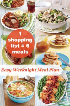 1 shopping list = 6 easy meals! This is a tasty weeknight meal plan with hearty winter recipes: Chicken Provençal, Tuna and Couscous Salad, Cola-Braised Brisket, Tortellini and White Bean Soup, Turkey Meatball Subs and Ricotta-Banana Pancakes.