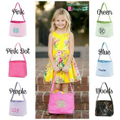 Kids Monogrammed Easter Totes ~ Monogrammed Easter Basket ~ Monogrammed Easter Bag ~ Seersucker Bag ~ Personalized Easter Tote by SouthernMeadowDesign on Etsy