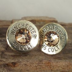 Bullet Earrings - Stud Earrings - Ultra Thin - Colt 45 - Gold Rush. $17.99, via Etsy.