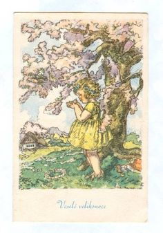 Easter Traditions, Vintage Easter, Postcards, Vintage World Maps, Animation, Drawing, Kid Art, Drawings, Sketches