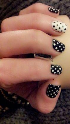 Black & White Polka Dot Shellac Nails- prefer the white with black dots