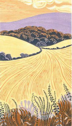 Ian O'Halloran - Folkington Hill after the harvest.  Linocut
