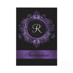 flourish #purple #monogram #wedding #Invitations. All images here are copyright Maria.G,All rights reserved, you can only REPIN them.