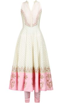 Cream and pink embroidered kurta set available only at Pernia's Pop-Up Shop.