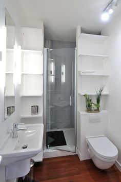 small bathroom with wooden flooring, white walls, white ceiling, white toilet, white sink, white shelves, mirror with lighting