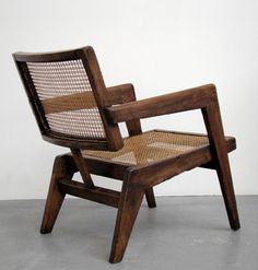 Pierre Jeanneret; Teak and Cane Armchair, c1960.