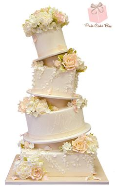 Topsy Turvy Ruffle Wedding Cake by Pink Cake Box