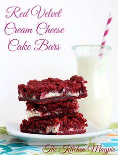 Cream Cheese Filled Red Velvet Cake Bars