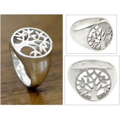NOVICA Sterling Silver Signet Ring ($40) ❤ liked on Polyvore featuring jewelry, rings, signet, sterling silver, signet ring, novica, sterling silver jewelry, sterling silver jewellery et sterling silver rings