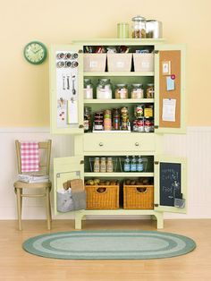 Free standing kitchen pantry idea we don't need more pantry space but we can use it to store pots and pans, baking dishes. etc.