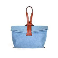 QUOTE Criss-Cross Bag -- leather n canvas (Blue denim)