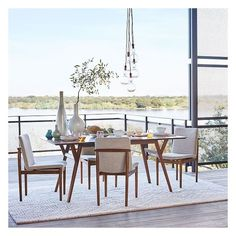 """West Elm Mid-Century Expandable Dining Table, 72""""-92"""", Walnut ($799) ❤ liked on Polyvore featuring home, furniture, tables, dining tables, mid century modern dining table, white lacquer dining table, mid century dining table, white kitchen table and butterfly leaf dining table"""