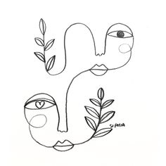 A Sleeping Head Waiting For the Spring Giclée art print sizes Hippie Kunst, Art Sketches, Art Drawings, Drawing Art, Face Line Drawing, Abstract Face Art, Inspirational Artwork, Minimalist Art, Simple Art