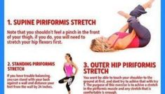 The sciatic nerve is located deep in the buttock. Because of its vicinity to the piriformis muscle, constriction or swelling of the muscle may lead to irritation of the nerve and pain. Sciatic Nerve Exercises, Sciatic Pain, Stretches, Deep, Thighs, Health Fitness, Muscle, Feelings, Piriformis Muscle