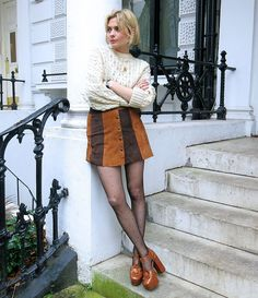 I'm actually not a big fan of Orla Kiely (the shoes), but I like the 70s vibe of this look/outfit!