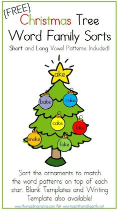 Christmas Tree Word Family Sorts (Short and Long Vowel Patterns Included) ~ This Reading Mama for Teach them Diligently