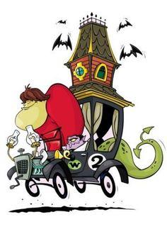 l Espantomovil (2): Conducido por dos monstruos a los que llamaban la pareja compleja. En el campanario hay un dragón, fantasmas y una serpiente.