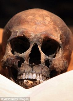 Scientists have for the first time - with the help of DNA - been able to identify this skull as belonging to  King Tut's father Akhenaten. He and Tutankhamun's mother (whose name is unknown, although her mummy has now been identified) were brother & sister.