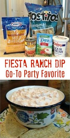 Fiesta Ranch dip 1 packet Hidden Valley Fiesta Ranch dip 10 ounce can Rotel Original drain excess liquid 16 oz sour cream and 1 cup finely shredded cheddar cheese Mix all. Quick Appetizers, Appetizer Dips, Appetizers For Party, Appetizer Recipes, Easter Appetizers, Easter Recipes, Mexican Appetizers, Parties Food, Quick Snacks