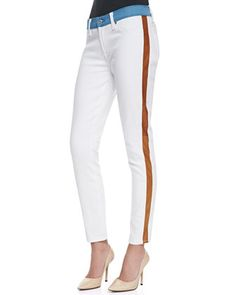 7 For All Mankind Colorblock Skinny Ankle Jeans, White/Blue/Cognac - Neiman Marcus