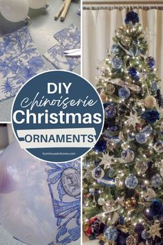 I love these DIY Chinoiserie Christmas ornaments! They will go perfectly with my blue and white Christmas home decor, and they're so much cheaper than buying them!