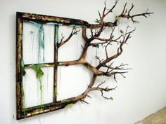repurposed window frame & tree branch. WOW LOVE IT. Valerie Hegarty Season's End 2011