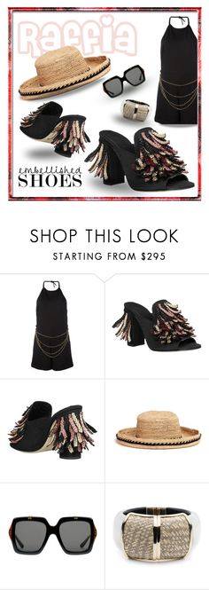 """""""Straw Happy"""" by michelletheaflack ❤ liked on Polyvore featuring Pierre Balmain, Sanayi 313, Venna, Gucci, Alexis Bittar, embellishedshoes, polyvorecontests and styleinsider"""