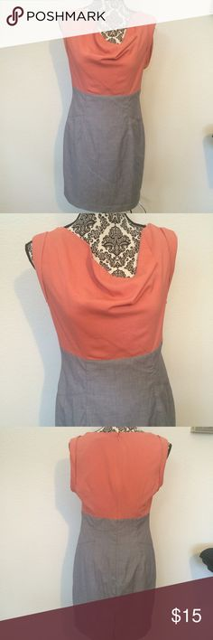 Love 21 Career dress Cute dress by Love 21 is perfect for the office. The cowl neck is  very flattering. Gray and coral.   Size medium  Previously owned, but still in great condition Love 21 Dresses