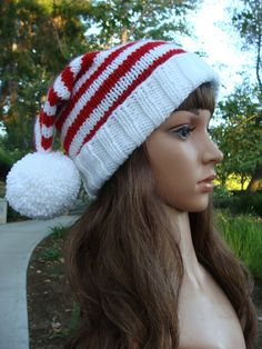 2304d4f5 DIY- Knitting PATTERN #132: Striped Double Pom-Pom Foldup Brim Santa  Slouchy Pattern, Knit Santa Hat Pattern, Teen/Adult - Digital Pattern