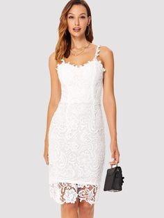 0978b51726 Lace Hollow Out Cami Dress -SheIn(Sheinside)