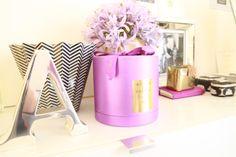 Black & White & Pink Bedroom - silver letter, zigzag vase,