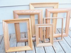 Vintage Lot of 6 PICTURE FRAMES Brown Wood Wooden by KathiJanes