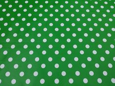 Emerald Green Large Polka dots Spotty Vinyl PVC Table Cover Tablecloth Picnic Kitchen oilcloth waterproof PVC Resturant cafe - Per 2 Metres