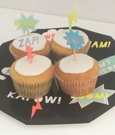 These Meri Superhero Cupcake Cases And Toppers Are Available To Purchase From Beespoke Party Box Look Great Give An Added Zap Yo
