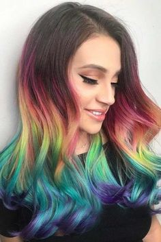 55 Fabulous Rainbow Hair Color Ideas Try rainbow hair that is rich dark fantastic and mysterious. The new oil slick hair trend allows brunettes to get awesome look without any harsh bleaching. Brunette Girls, Brunette Color, Brunette Hair, Hair Color 2017, Cool Hair Color, Hair Colors, Undercut Designs, Rainbow Highlights, Oil Slick Hair