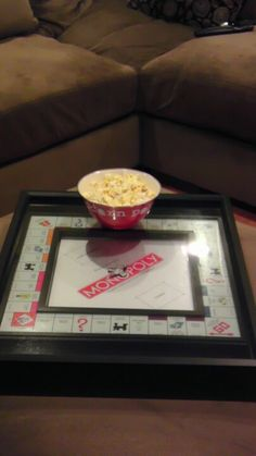 Monopoly Board Coffee Table Tray Game Put In Shadow Box And Handles In Side