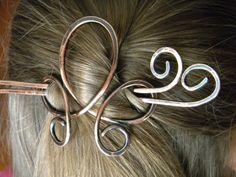 Hair Slide, Hair Pin, Hair Accessories, Hair Clip, Hair Brooch, Hair Sticks, Hair Fork, Hair Accessory, Hammered Copper, Hair on Etsy, $18.50