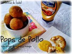 Pops de pollo con salsa de curry y mango