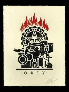 10 x 13 inches. Letterpress on cream cotton paper with hand-deckled edges. Signed by Shepard Fairey. Collage Illustration, Graphic Illustration, Printing Press, Screen Printing, Obey Prints, Obey Wallpaper, Shepard Fairy, Shepard Fairey Obey, Propaganda Art