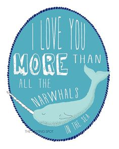 Narwhal Art Print 5 x 7 8 x 10 or 11 x 14 by TheNestingSpot