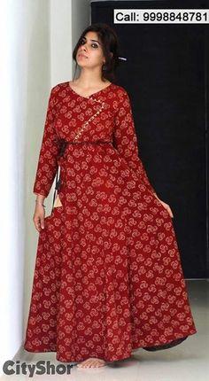 Kurti Designs Party Wear, Kurta Designs, Blouse Designs, Frock Fashion, Fashion Dresses, Summer Dresses Online, Kalamkari Dresses, Cotton Gowns, Gown Pattern