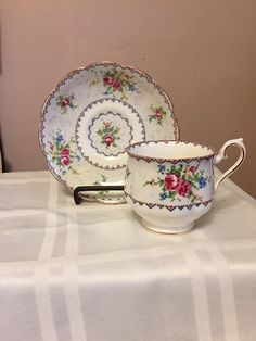Royal Albert Bone China Cup and Saucer.  PETIT POINT pattern,  Vintage. by…