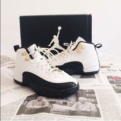"🌟Need Gone🌟Air Jordan Taxi 12 Air Jordan Taxi 12. The shoes are in good condition with the only minor flaws being minor paint chippings, a light scrape on the back heel, and some chipping on the gold lace locks. All flaws can be found in the fourth photo. No OG box. 100% authentic. 5 in Youth best fits a 6.5-7 in Women's.                                                              ❌NO TRADES❌                                                  ❌Please do not ask ""Lowest?"" I only negotiate…"