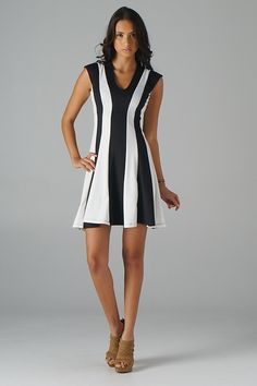 Stripe Fit and Flare Dress (Black) - Front