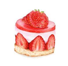 Cake illustration drawing original paintings new Ideas Cake Drawing, Food Drawing, Dessert Illustration, Food Sketch, Watercolor Food, Food Painting, Macaron, Food Illustrations, Cute Food